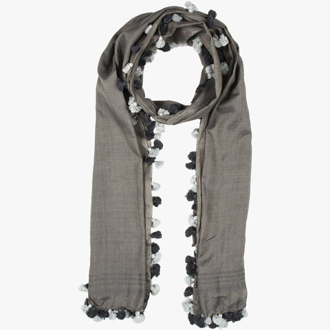 Namrah Handwoven Grey Stole with  Tassels