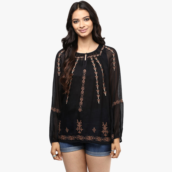 Livia Embroidered Peasant Top