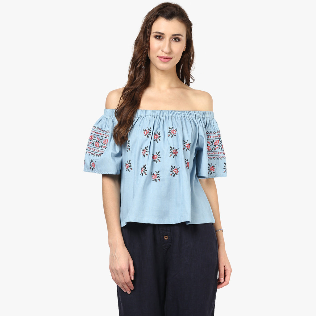 Chelsea Blue Embroidered Top
