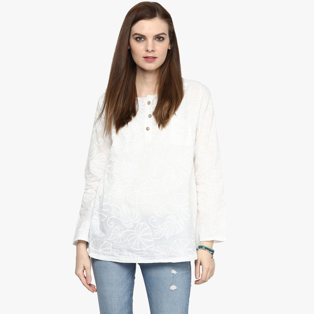 Leaf Embroidered Top