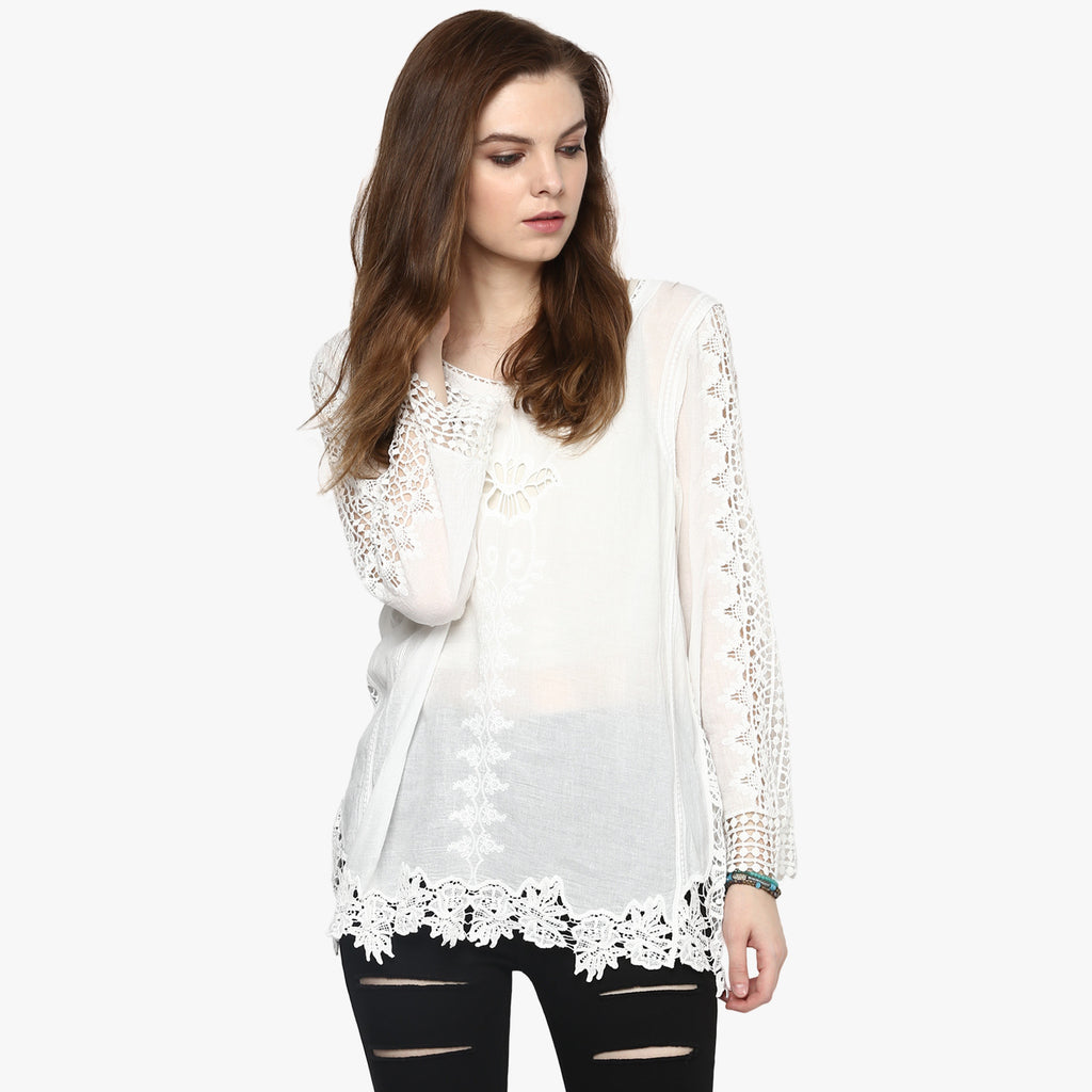 Aqila Lace Embroidered Top