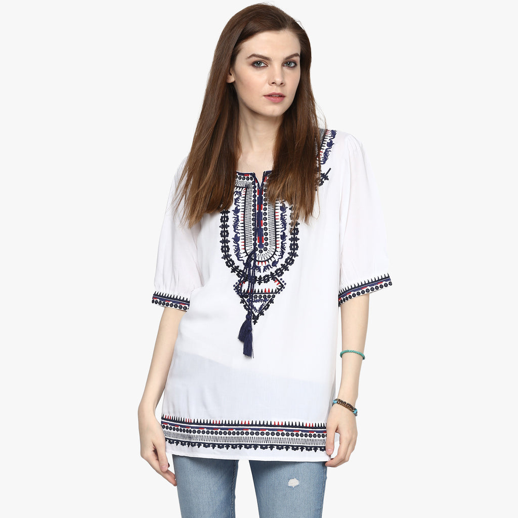 Victoria Embroidered Peasant Top