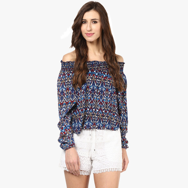 Kelly Printed Off Shoulder Smocked Top