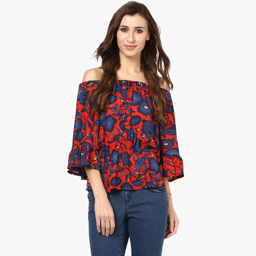 Erin Printed Off Shoulder Top