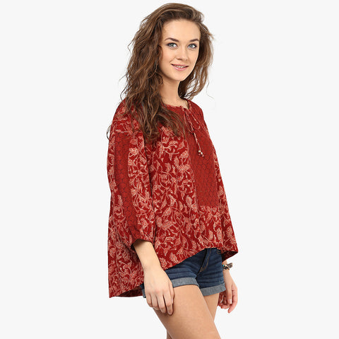 Ezzah Loose Peasant Top With Lace