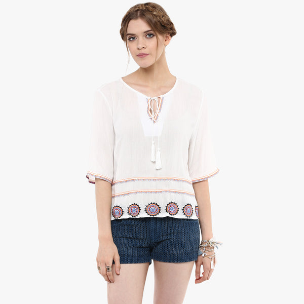Balki Embroidered Peasant Top