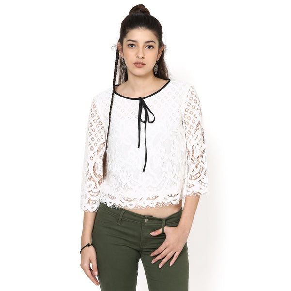 Zoe Karni Lace Crop Top