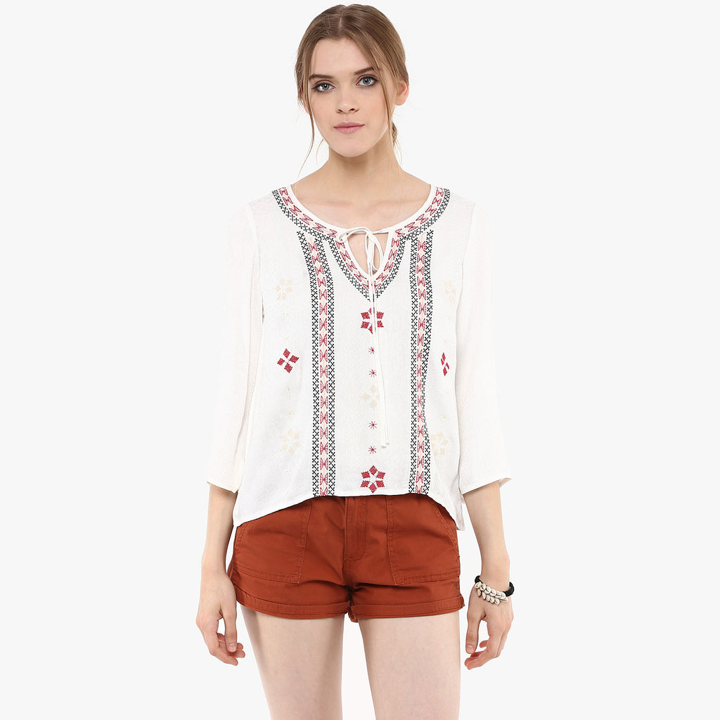 Anya Embroidered Peasant Top
