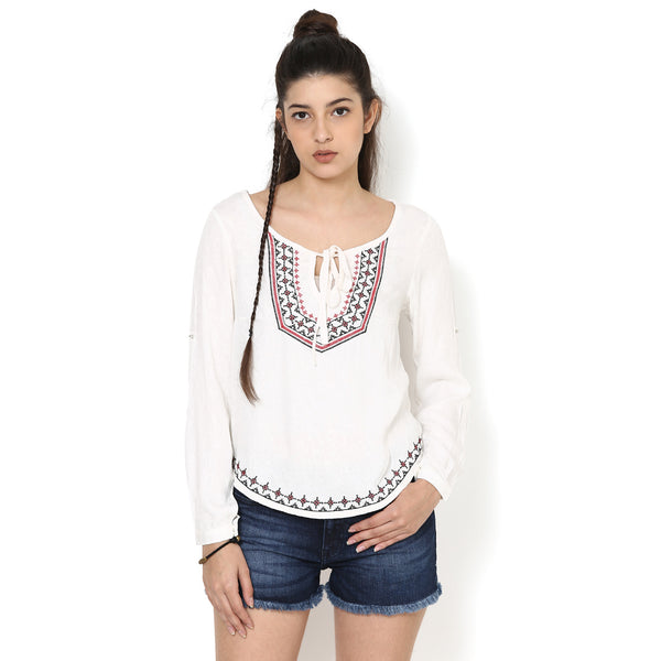 Sienna Embroidered Peasant Top