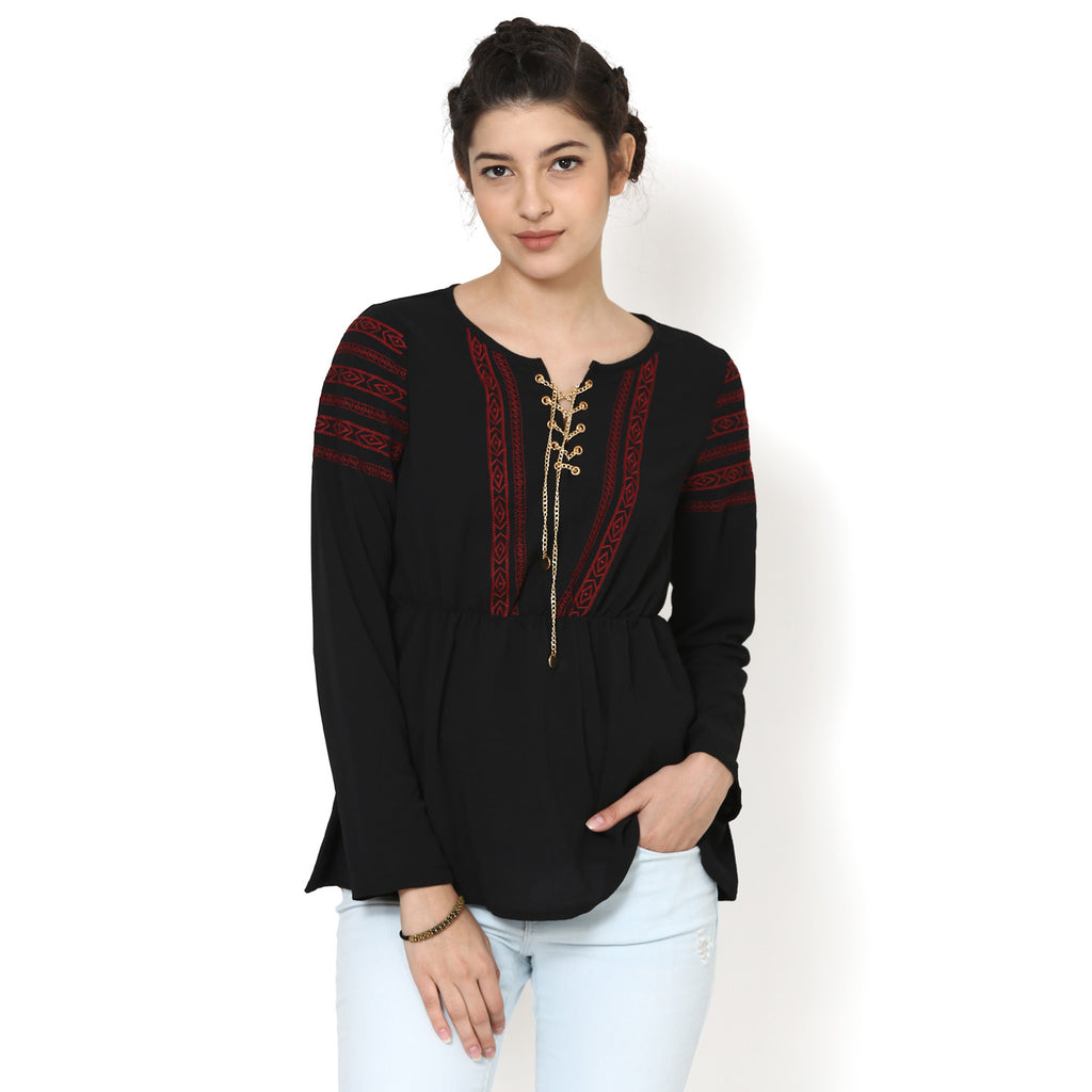 Ananadita Embroidered Flared Top