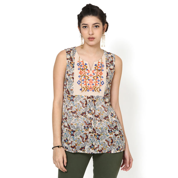 Meenal Printed Top with Embroidery
