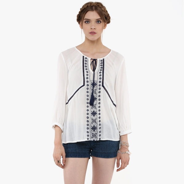Bhavna Embroidered Peasant Top