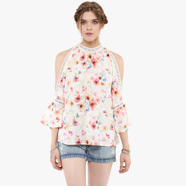 Arhita Printed Cold Shoulder Top