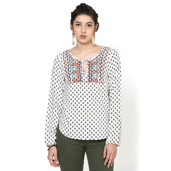 Ambi Printed Peasant Top