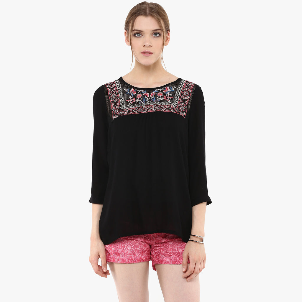 Tiah Embroidered Peasant Top
