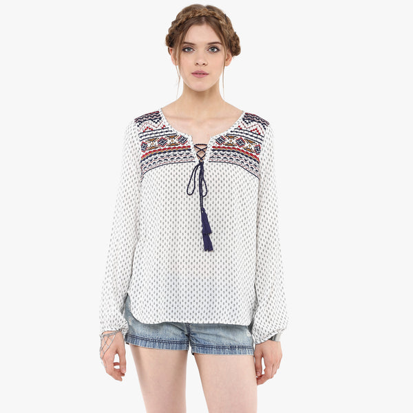 Vayu Printed Peasant Top
