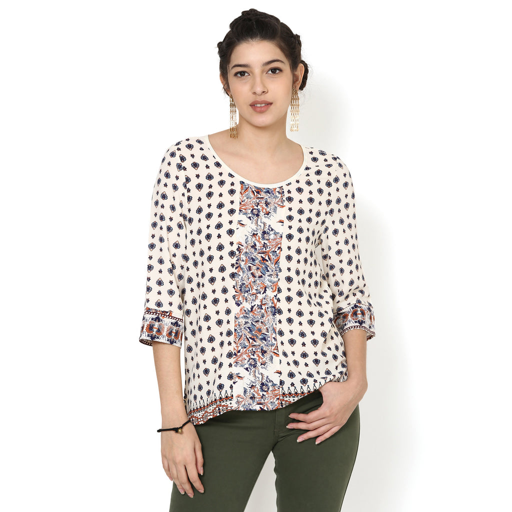 Myra Printed Panelled Top