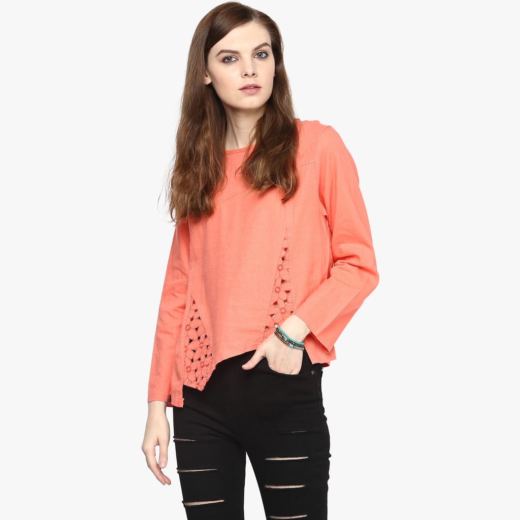 Carolyn Lace Godet Top