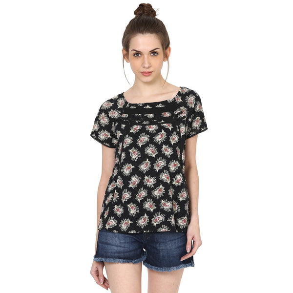 Printed Lace Insert Top