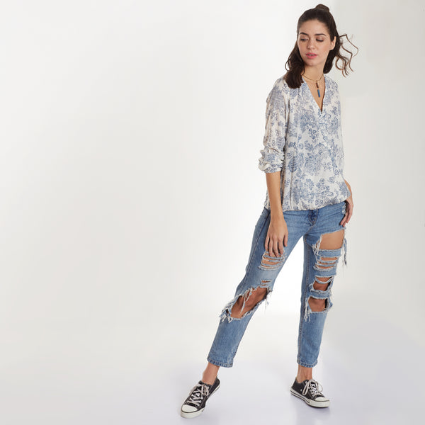 White Floral Print Regular Fit Top