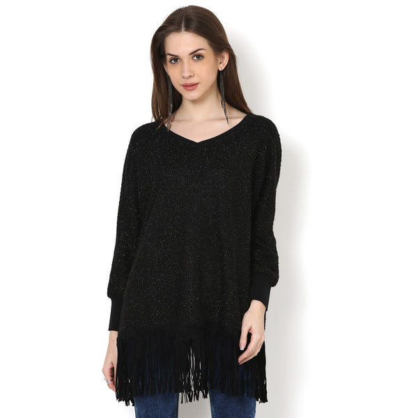 Nimya knitted fringed top