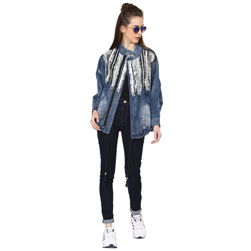 Sugandha Embellished and Distressed Denim Jacket