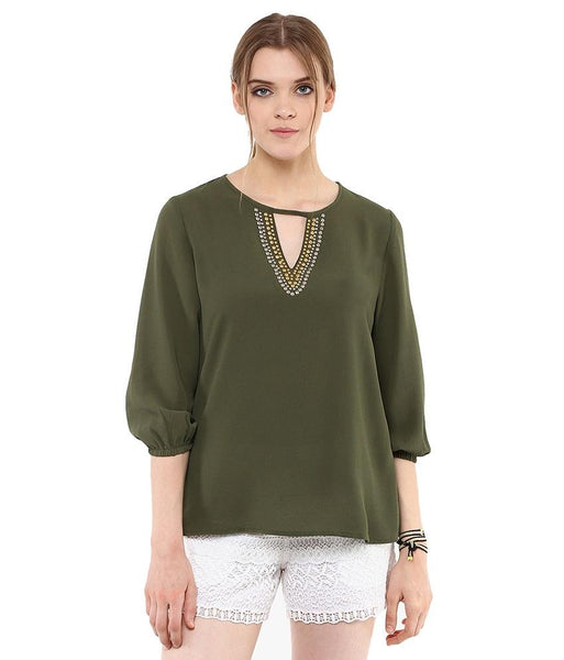 Loom Tree Easy Top With Beaded Neckline And Blouson Sleeves.