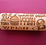 Happy Birthday - MINI embossed, engraved rolling pin for Cookies , Biscuits & Pastry