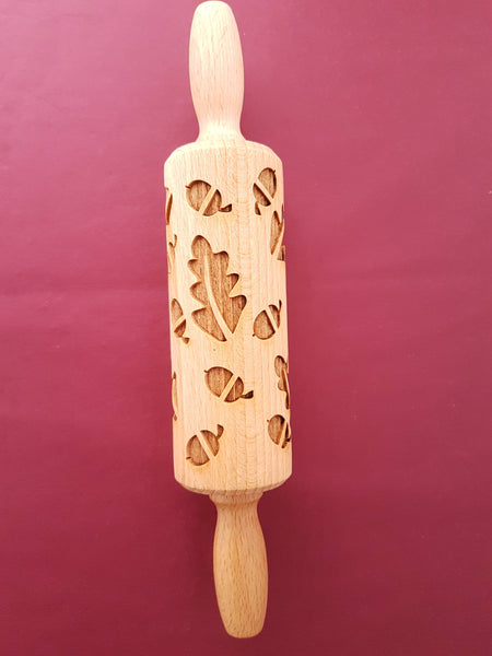 Oak Leaf & Acorn - MINI embossed, engraved rolling pin for Cookies , Biscuits & Pastry