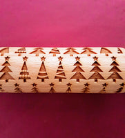 Christmas Xmas Tree  - MINI embossed, engraved rolling pin for Cookies , Biscuits & Pastry