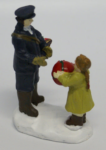 "Postman and girl, train layout or Christmas Figural. 2"" x 3"