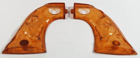 Light Amber Hubley Cowboy Steer Head cap gun Grips