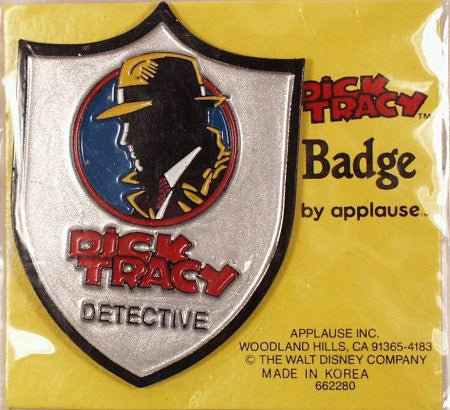 Dick Tracy Metal Detective Badge on card Walt Disney