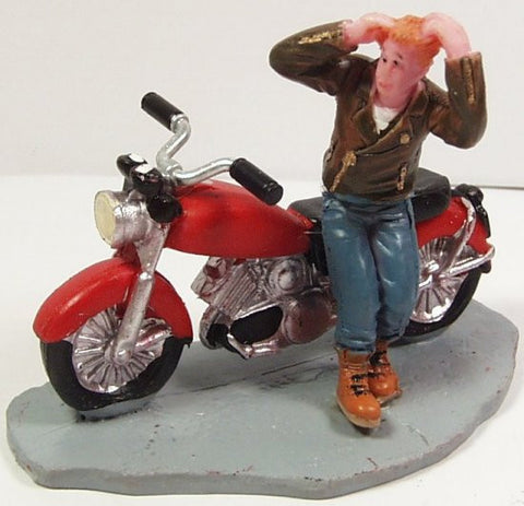Young man & motorcycle  2-1/2 in. train figure