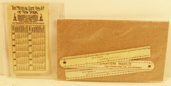 Advertising Celluloid Calendar & Ruler calendar is dated 1900