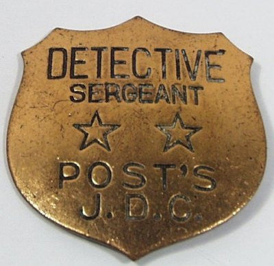 Gold color Post's Early Detective Sergeant Badge Premium 1-1/2""