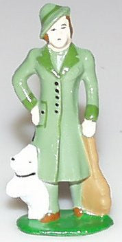 Train station figure Lady with Puppy 3""