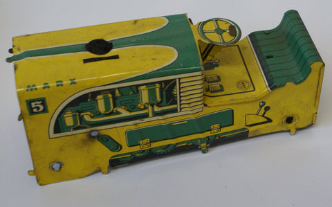 Marx #5 Tractor Body Yellow and Green. Parts only Surface rust on litho and interior.  Sold As Is.