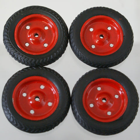 "1-11/16"" x 3/8"" Vintage toy original tire with painted hub. 3/32 Axle size"