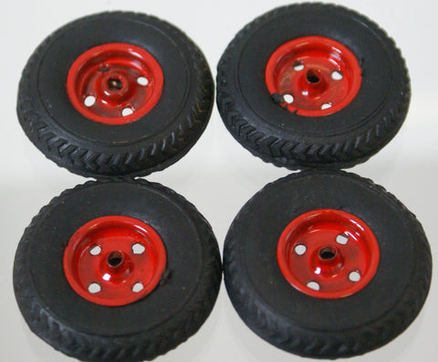 "1-3/8"" vintage toy wheels with painted metal hub. Original set of four"