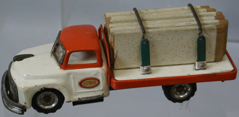 "Vintage toy Friction Chevy lumber truck 7"" 1950-60's"