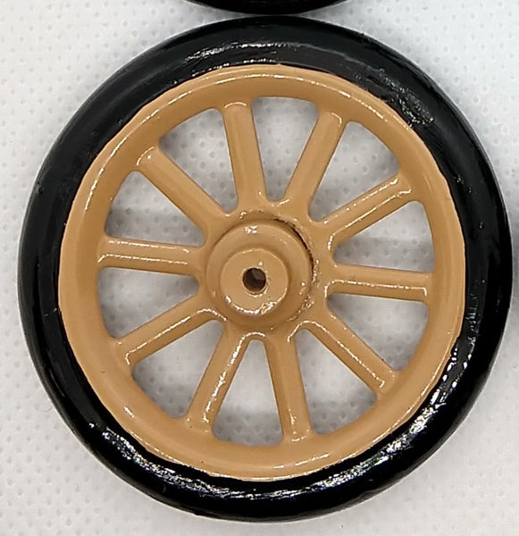 "2"" Tin toy wheel with spokes for early vintage toys like Bing or Bub"