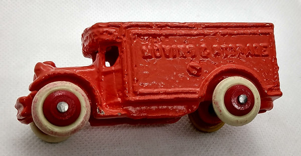 "3-1/2"" Restored cast small toy truck : 'Moving and Storage'"