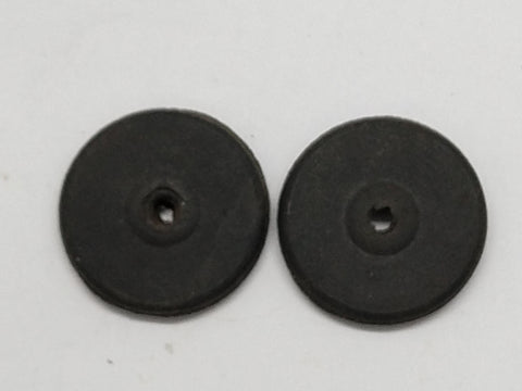 "1"" Original flat style wheels.  Black rubber Set of two."