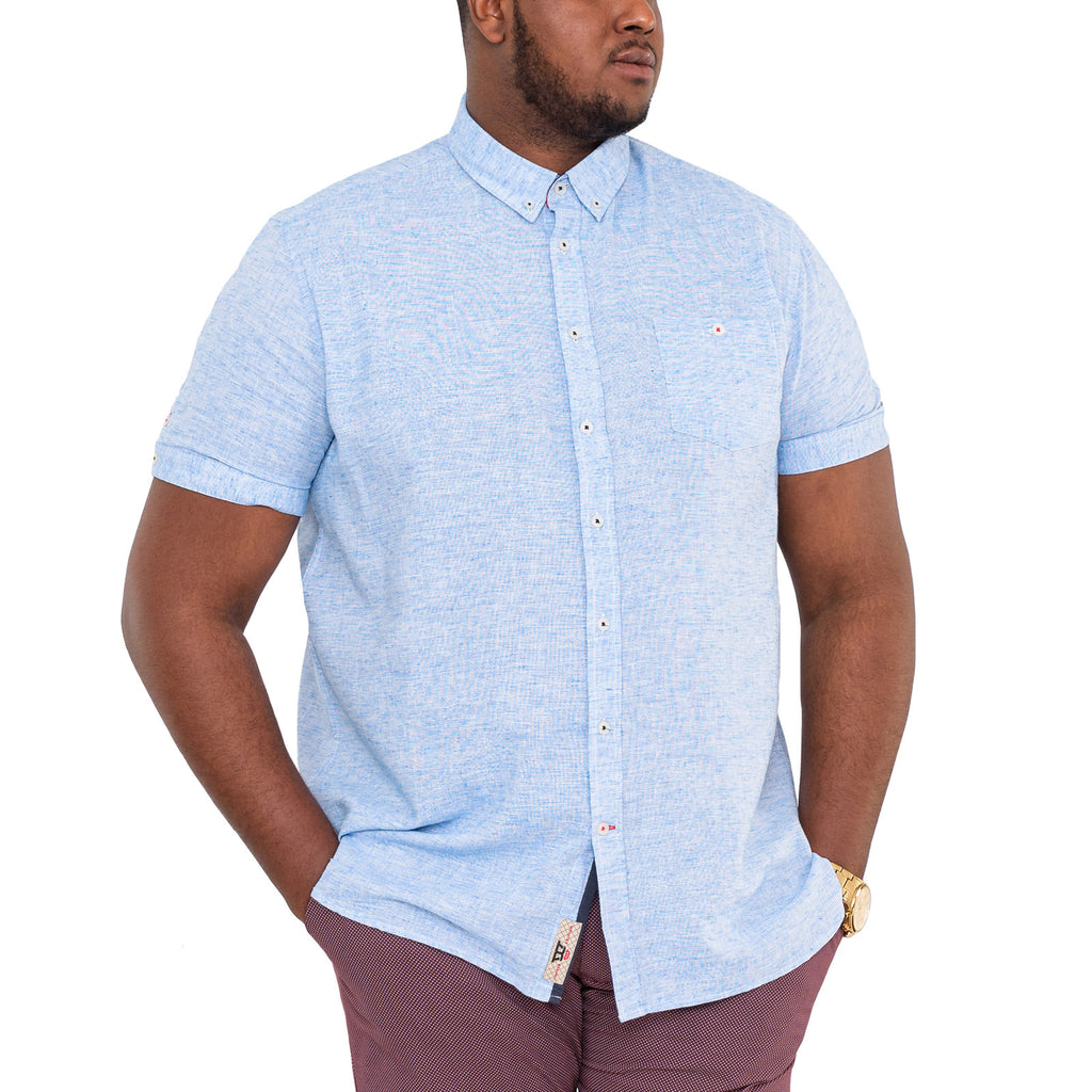 Duke D555 Mens Reid Big Tall Linen Shirt - Sky Blue