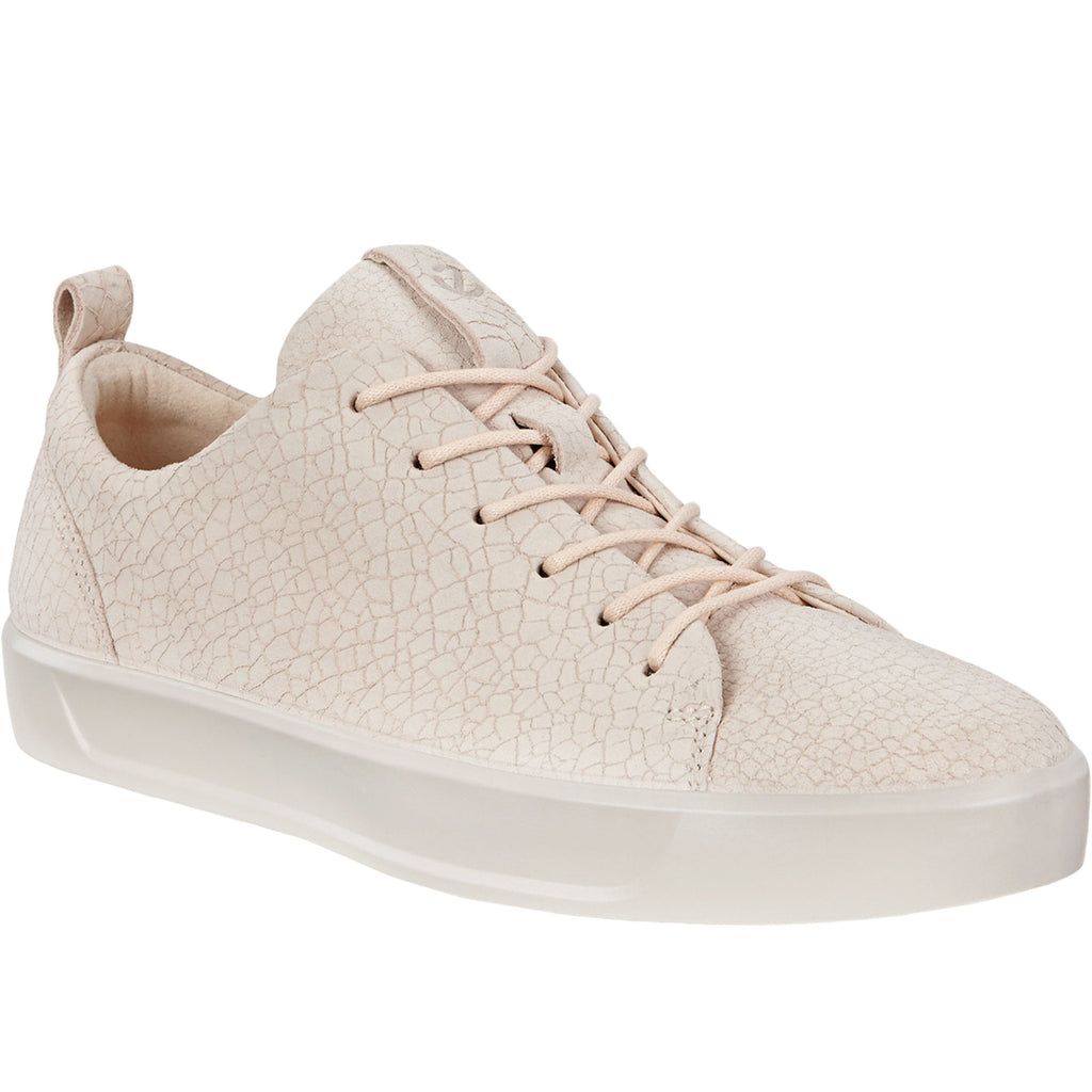 ECCO Womens Soft 8 Crackle Leather Trainers - Vanilla