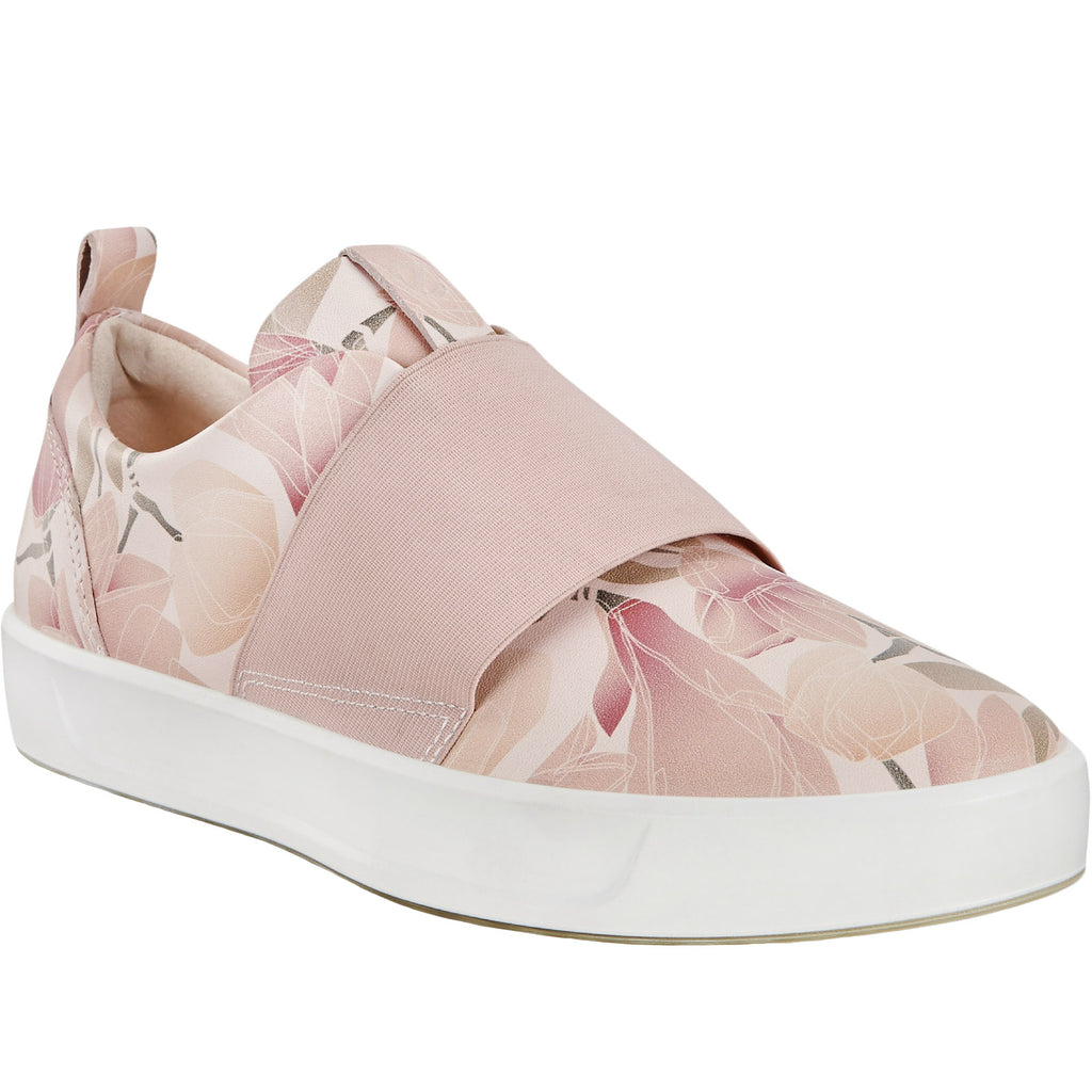 ECCO Womens Soft 8 Leather Trainers - Pink