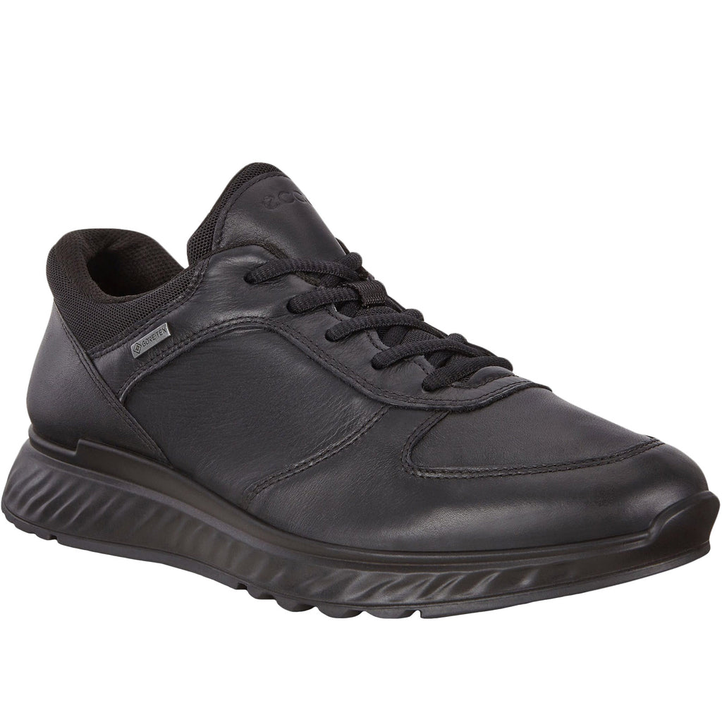 ECCO Mens Exostride Leather Gore-Tex Shoes - Black