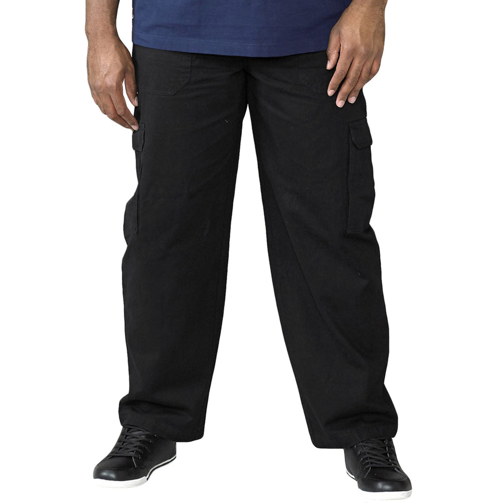 Duke D555 Mens Cargo Big Tall Trousers - Black