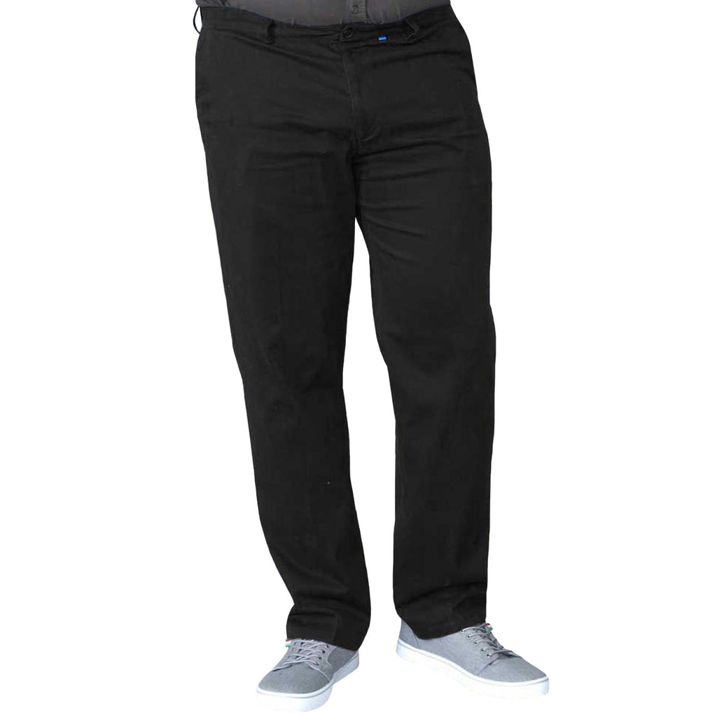 D555 Bruno Big and Tall King Size Chino Trousers - Black